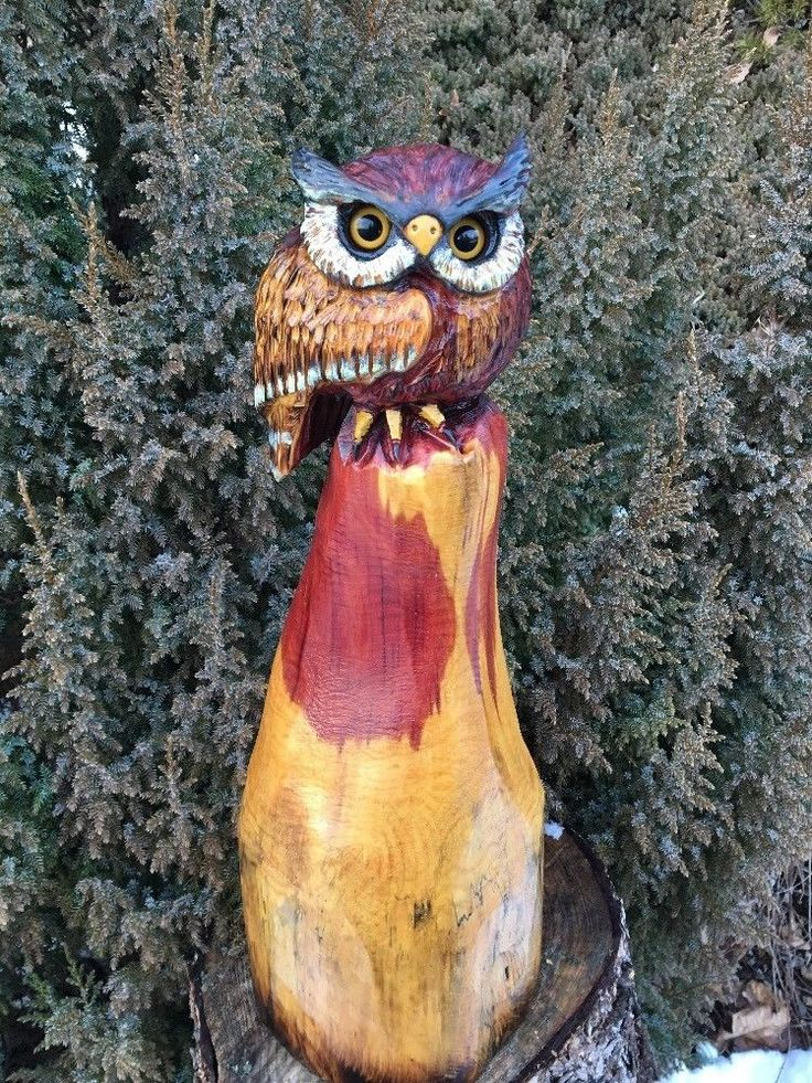 Chainsaw Carving Horned Owl RED CEDAR WOOD Carved Statue Home Garden Cabin  Decor