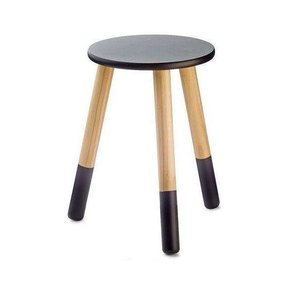 Dipped Wooden Stool - Black | Kmart (12 AUD) via Polyvore featuring home, furniture, stools, black stool, wood stools, wooden furniture, lumber furniture and timber furniture