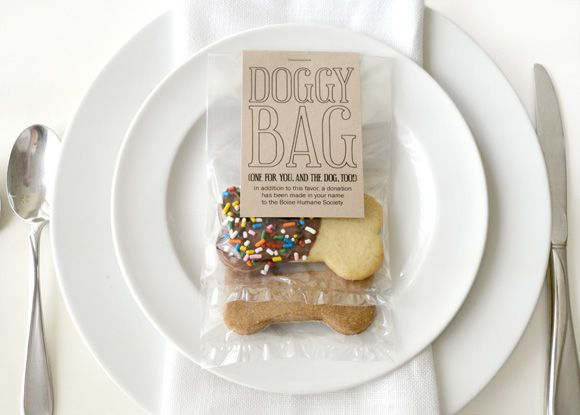 make the favor a donation to an animal shelter...and tell guests with this little doggie treat bag