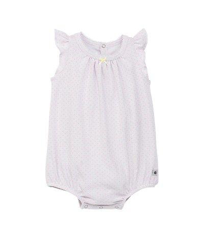 Kurzer Baby-Einteiler, Mädchen , Volantärmel, gepunktete Baumwolle weiss Germain / rosa Cupcake - Petit Bateau