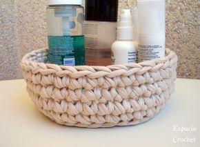 Espacio Crochet: Cesto de trapillo con tutorial
