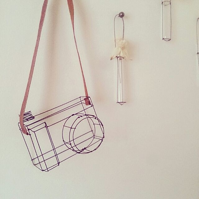 壁 天井 ワイヤークラフト 手作り 雑貨 カメラ などのインテリア実例