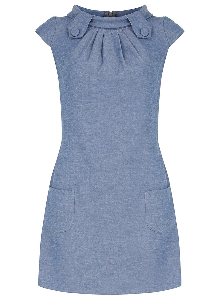 Denim tab shift dress - View All - Dresses - Dorothy Perkins