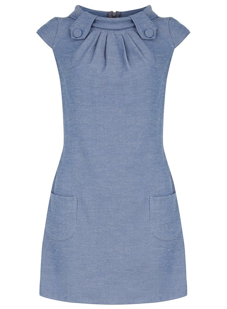 Denim tab shift dress - View All - Dresses - Dorothy Perkins