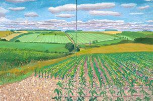 David Hockney<br> Warter Vista, 2006<br>       oil on 2 canvases<br>       Overall: 48 x 72 in. (121.9 x 182.9 cm)<br>       Framed: 49 x 73 in. (124.5 x 185.4 cm)<br>       Private collection