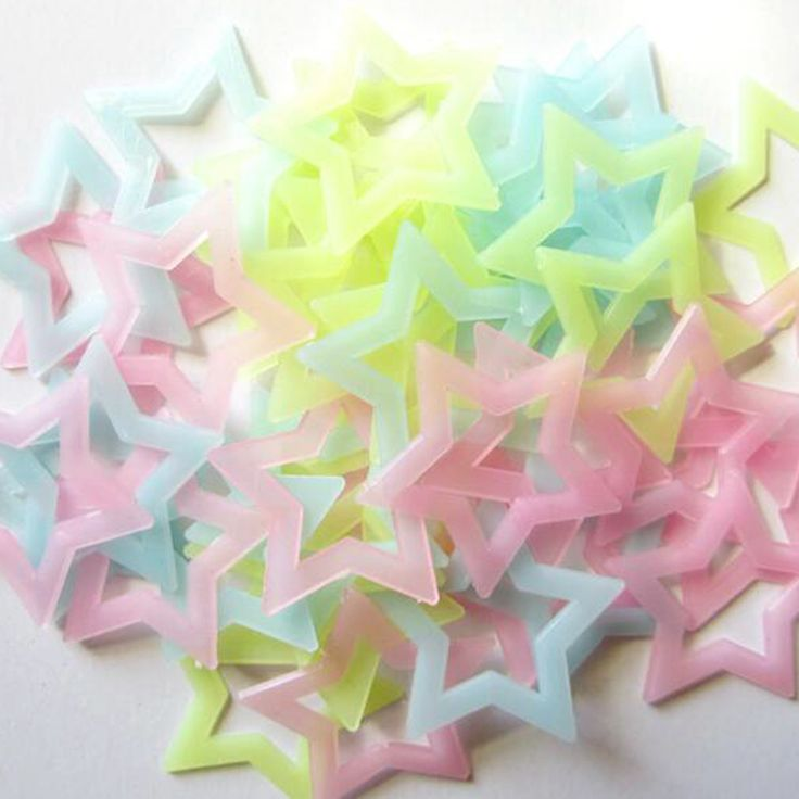 40PCS large 4.6 cm hollow storage phosphor luminous stars sticker toy baby room, children's bedroom