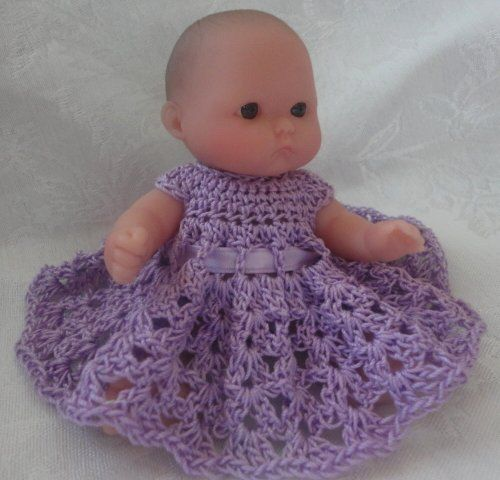Free Doll Dress Crochet Pattern for Berenguer 5 Inch Doll Baby! More to come!!