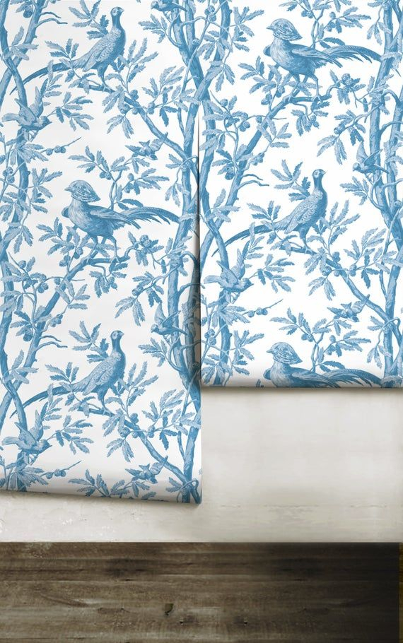 Oiseaux Chinoiserie Blue Peel N Stick Or Prepasted Etsy Prepasted Wallpaper Couple Wallpaper Chinoiserie
