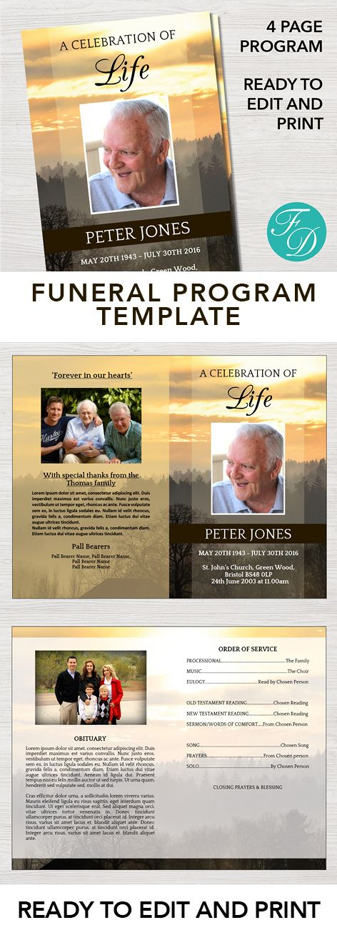 236 best Funeral Programs for Men Obituary Templates \ Prayer - funeral template download