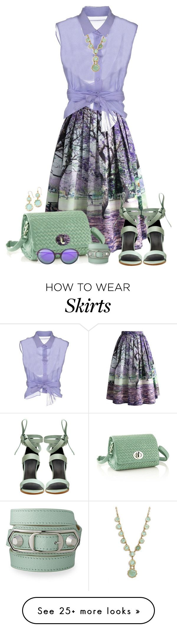 """""""Midi Skirt for Spring"""" by autumnwolf1965 on Polyvore featuring Chicwish, Alberta Ferretti, TIBI, Kate Spade, Balenciaga and Ray-Ban"""