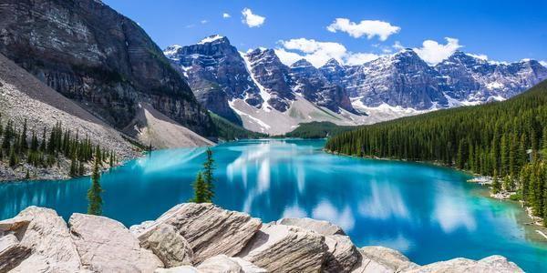 Lago Moraine en Canada.