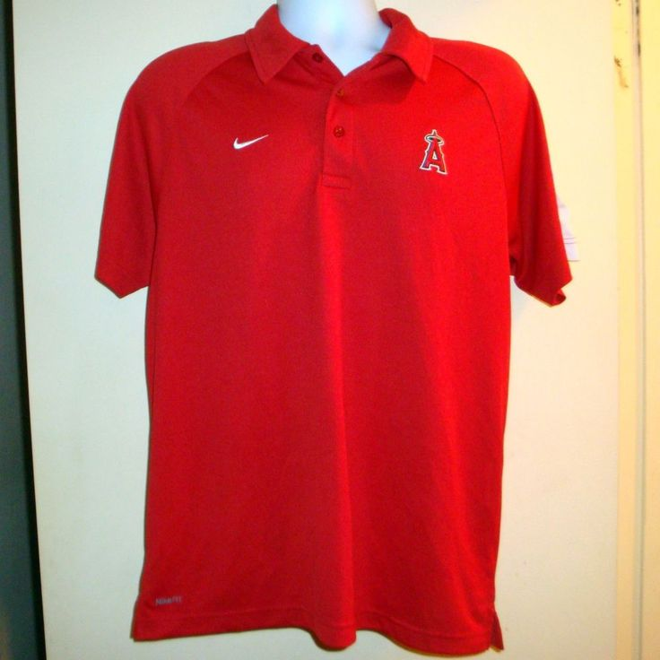 NIKE Fit Dry Size M Angels Baseball Team Polo Shirt Red  #Nike #Angels