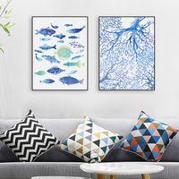 Аннотация Морской Рыбы Синий Коралл Большой Холсте, Печать Плакатов стены Картину Картины Без Рамки Современная Nordic Гостиной Дома декор