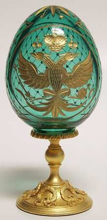 "FARERG CRYSTAL EGG, CUT, GOLD TRIM  NAME: ""DOUBLE EAGLE"""