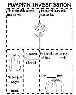 Pumpkin Investigation recording sheet