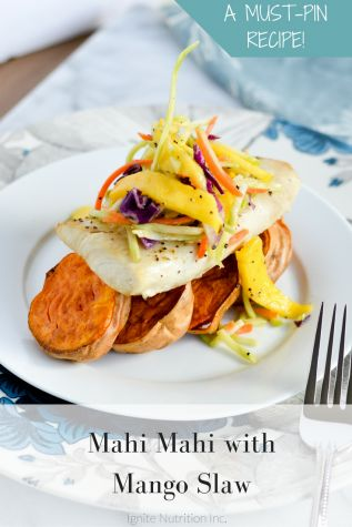 Mahi Mahi with Mango Slaw - a delicious week night recipe from Andrea Hardy, Registered Dietitian Nutritionist with Ignite Nutrition - Calgary Alberta