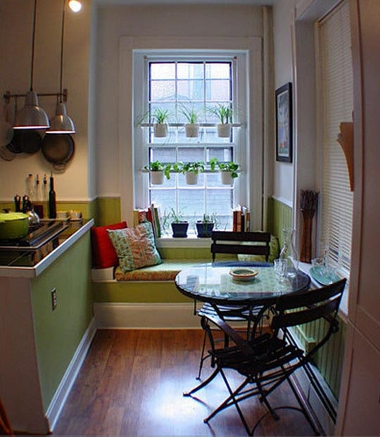 kitchen nook cafe table green window seat. can i please have a window seat like this??? please???
