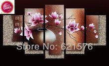 El boyalı modern duvar sanatı resim oturma odası ev dekor soyut leylak kapok çiçek grup yağlıboya çerçeveli(China (Mainland))