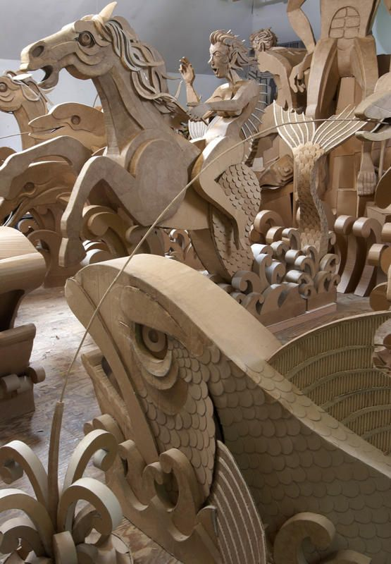 100 Life-Size Cardboard Monkeys and More: Enormous Cardboard Sculptures   Jeannie Huang
