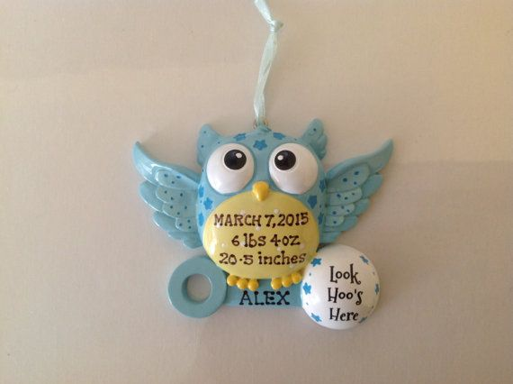 Christmas Ornaments For Baby Shower Favors : Personalized blue owl birth announcement baby boy s first
