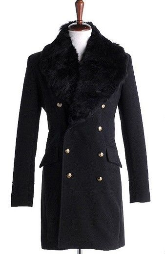 Men Autumn Winter New Style Korean Style Individual Fashion Fur Collar Balck Wool Long Coat M/L/XL@Q05b