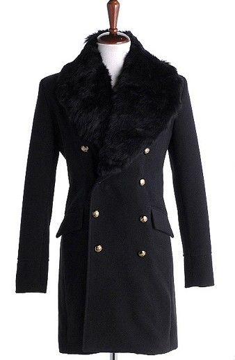 Men Autumn Winter New Style Korean Style Individual Fashion Fur Collar Balck Wool Long Coat M/L/XL@Q05b