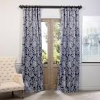 Exclusive Fabrics & Furnishings Flora Navy (Blue) Blackout Curtain - 50 in. W x 108 in. L (Pair)