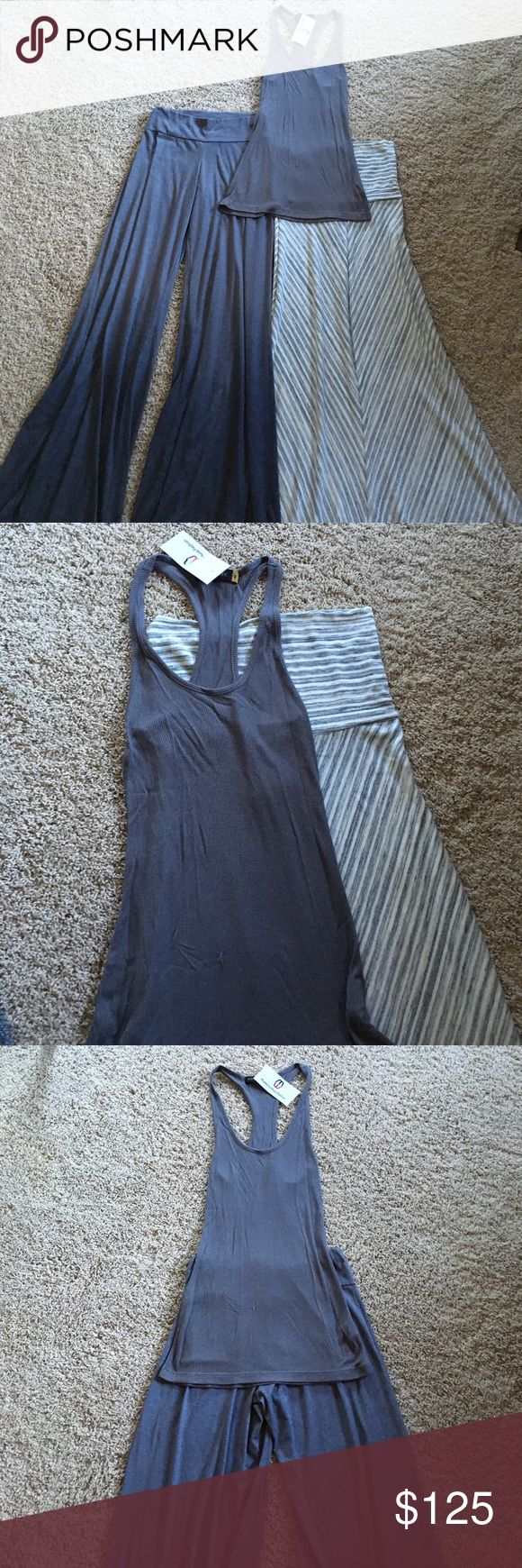 NWT Bundled Saint Grace pant, Maxi Skirt, and Tank NWT, tags attached and all three items, never worn. Saint Grace women's Carol pants in gorgeous Seal grey ombre wash. Saint Grace McKenzie tank Seal grey. Saint Grace chevron maxi skirt.  All three pair beautifully together.  Note, the Carrol pant is a little bit more of a heather gray compared to tank. But it is in the same color scheme so it still can be worn together without it looking matchy matchy 🤗.  There on a cute print cardi or…