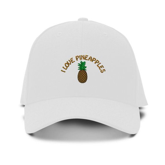 I Love Pineapples Embroidery Embroidered Adjustable Hat Baseball Cap