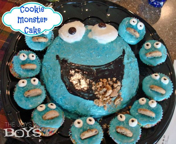 Cookie Monster Cake & cupcakes