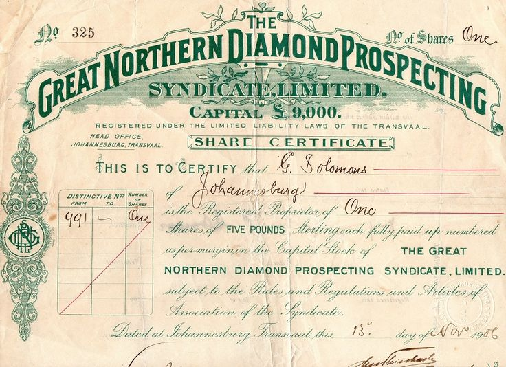 The Great Northern Diamond Prospecting Syndicate Ltd, Johannesburg 1906