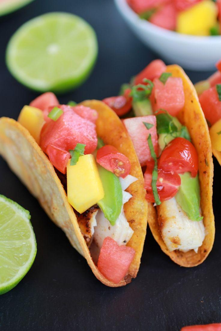 Coconut Lime Mahi Mahi Tacos with Tequila Soaked Watermelon Salsa | halfbakedharvest.com