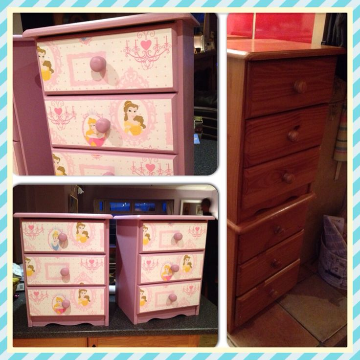 Bedside lockers painted Annie Sloan Henrietta, decoupaged with Disney princess wallpaper and varnished