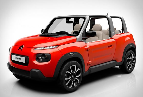 French automaker Citroen have presented the newest version of their iconic Mehari from 1968. The cool E-Mehari is as the name suggests, an all electric four-seater cabriolet, with removable roof panels, a fold-down rear bench and a plastic coated fab