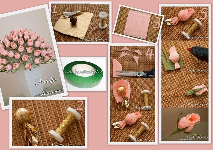 Un buchet cu dublu rol :) te bucura si te indulceste :) #scociflori din hartie adeziva https://decoratiunidulci.ro/accesorii-flori  SURSA: http://www.usefuldiy.com/diy-romantic-chocolate-rose-bouquet/  #decoratiunidulci #chocolateroses