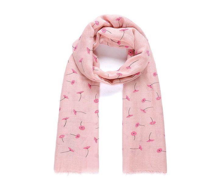 Pink daisy flocked scarf