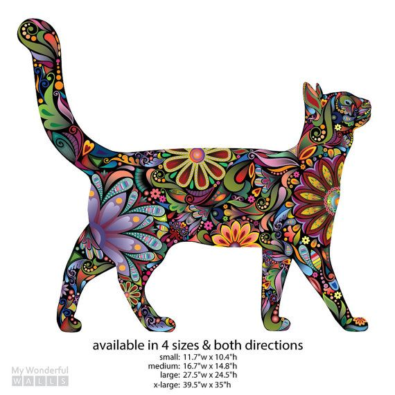 Walking Cat Wall Sticker Repositionable Floral by MyWallStickers