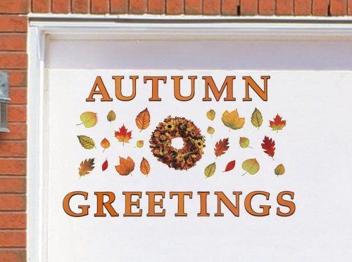"Autumn Greetings Harvest Garage Door Magnet Set By Collections Etc by Collections. $14.99. Festive Autumn Magnet set affixes instantly to your garage door to greet guests and passersby. Each piece has a magnetic backing with weather resistant laminated fronts. Wipes clean. Wreath 9 1/4""L x 8 1/2""W. Letters are 4""H."