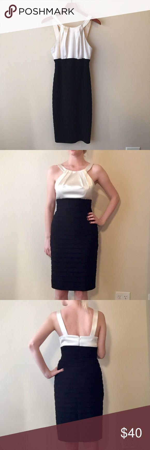 Black and White Cocktail Dress This classy black and white cocktail dress is the brand XSCAPE and was originally purchased from Macy's. The dress is form-fitting, though not tight, and flattering. I have worn this dress as a bra size 34B-D and pants size 2-4 and it has fit perfectly. The dress has been worn 4-5 times, and does have some staining on the inside front from makeup, but nothing that is visible. Xscape Dresses
