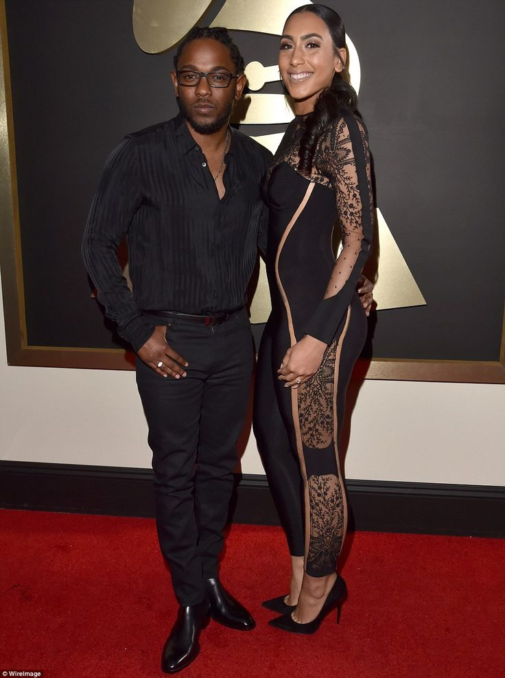 Big winner: Kendrick Lamar, pictured with girlfriend Whitney Alford, took home five Grammy...