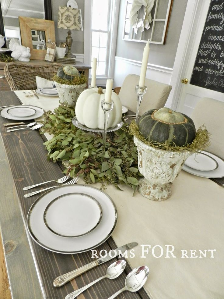 rooms for rent simple white pumpkin eucalyptus tablescape rooms for rent blog exclusive. Black Bedroom Furniture Sets. Home Design Ideas
