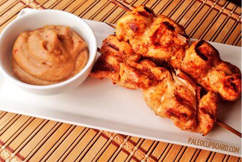 Paleo Chicken Satay with Dipping Sauce - www.PaleoCupboard.com