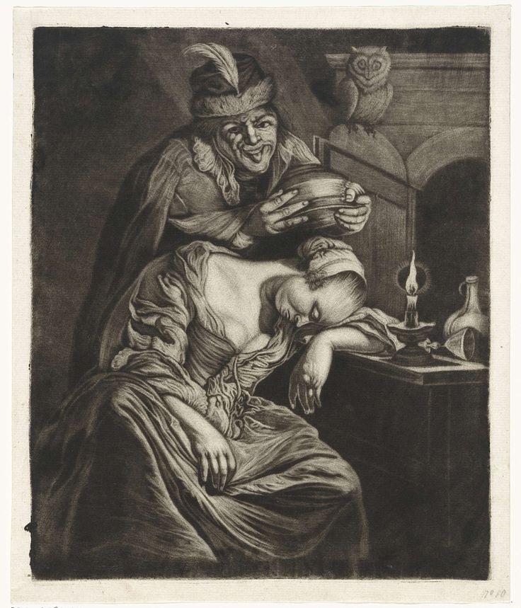 Jacob Hoolaart | De wijn is een spotter, Jacob Hoolaart, Frans van Mieris, 1723 - 1789 | Een nar-achtige figuur staat op het punt om een slapende vrouw een pispot op het hoofd te zetten. Hij steekt zijn tong uit. Op de tafel, waar de vrouw haar hoofd op te rusten heeft gelegd, ligt een omgevallen wijnglas. Op de deur van het venster zit een uil.