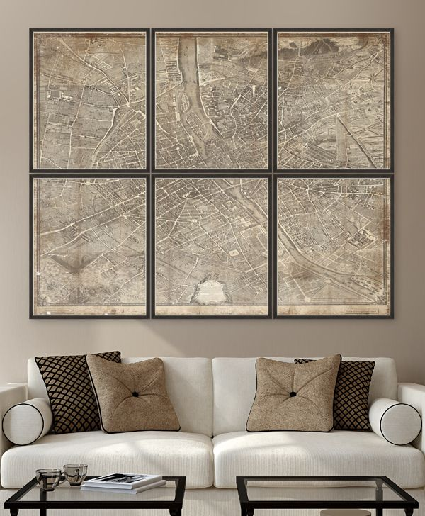 1739 Plan de Paris - Set of 6 Premium Framed Art by MINDTHEGAP
