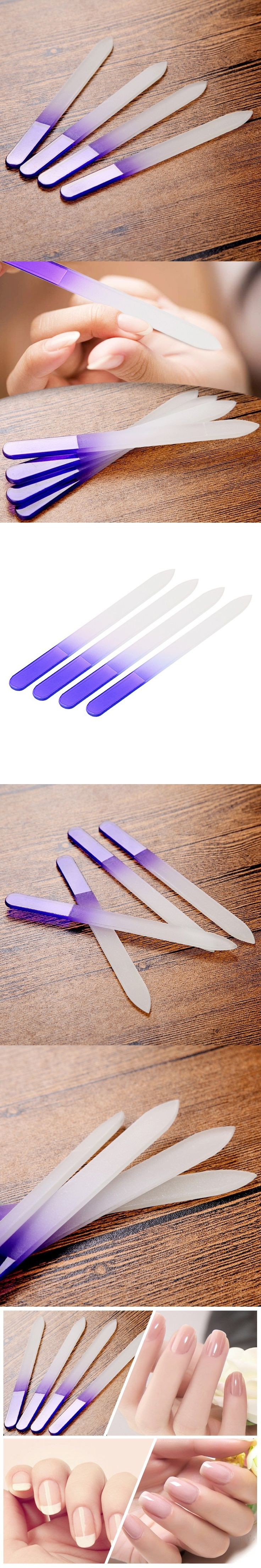 Free Shipping 4 Pieces/Lot Durable Crystal Glass Nail File  Buffer Nail Art Manicure Device Pro Tool
