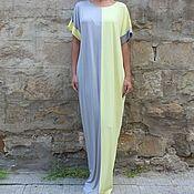 Одежда ручной работы. Ярмарка Мастеров - ручная работа Желто-серое длинное макси платье, кафтан, абайя, ручная работа. Handmade.