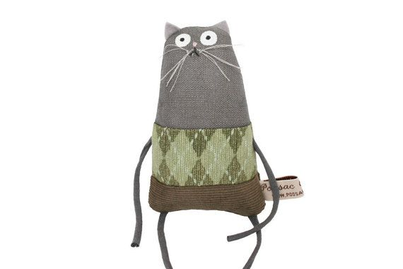 Cat Doll, Birthday Gift for Cat Lover, Miniature Grey Toy Kitty with Green Plaid…