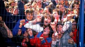 Supporters are crushed against the barrier before the 1989 FA Cup semi-final match between Liverpool and Nottingham Forest at the Hillsborough stadium in Sheffield.