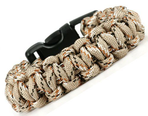 """Paracord Survival Bracelet - Desert Camoflage - 8""""- Para02 Luos Cultural Goods. $4.96. Use for building shelter, snares, fishing, fist-aid, broken shoe laces and gear, and an unlimited number of other uses!. Black slide release clip is contoured to fit your wrist comfortably. Always be able to carry several feet of Military Spec Type III 550 paracord on your wrist. 550 Paracord is highly durable, extremely strong, and can be used for a number of survival needs. Perfect for ..."""
