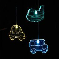 Mobile Transport  each lit by it's own colour changing LED, suspended by micro wire from an acrylic ring and battery pod. Colour cycle - full spectrum.  Power Requirements: 3 x AAA batteries (not included). Batteries (Alkaline) will last approximately 30 – 50 hours. Rechargeable batteries can be used.